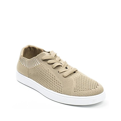 Ideal Shoes - Baskets basses en maille Lola Taupe 38