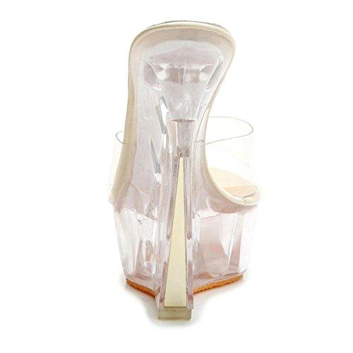 NVXIE Femmes Nouveaux Pantalons Sandales à Talons Hauts Pantoufles Chaussures Peep Toe Platform Transparent PU Automne Printemps Eté Nightclub Party Dressy GOLD-EUR38UK55 UVeiIcG1G