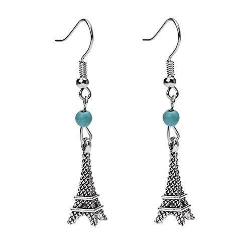 Silver Plated Ethnic Eiffel Tower Charm& Simulated turquoise Women Girls Hook Dangle Drop Earrings