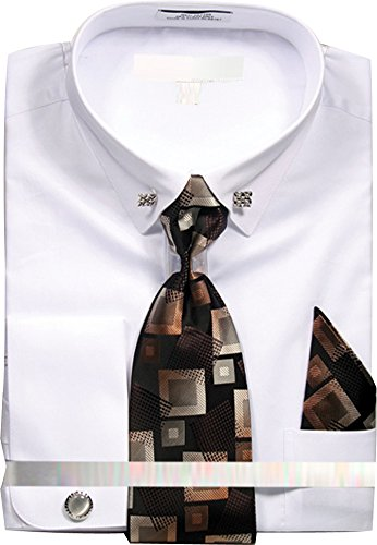 (Men's Solid Dress Shirt with Collar Bar and Tie Handkerchief Cufflinks - White 17.5 3435 )