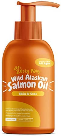 Zesty Paws Pure Wild Alaskan Salmon Oil for Dogs Cats – Supports Joint Function, Immune Heart Health – Omega 3 Liquid Food Supplement for Pets – All Natural EPA DHA Fatty Acids for Skin Coat