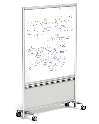 Merge Works Mobile Dry Erase WHITEBOARD 49x72 Double Sided w Accessory Rail, Silver Frame