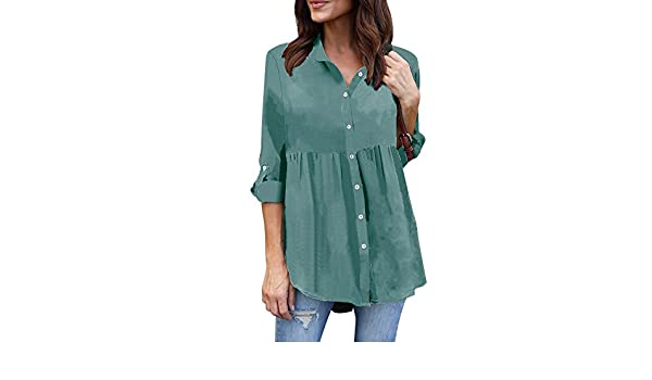ee10e0c75b2 Amazon.com  Sothread Womens Plus Size Long Sleeve Chiffon Casual Top T  Shirt Ladies Solid Shirts Blouse (XXXL