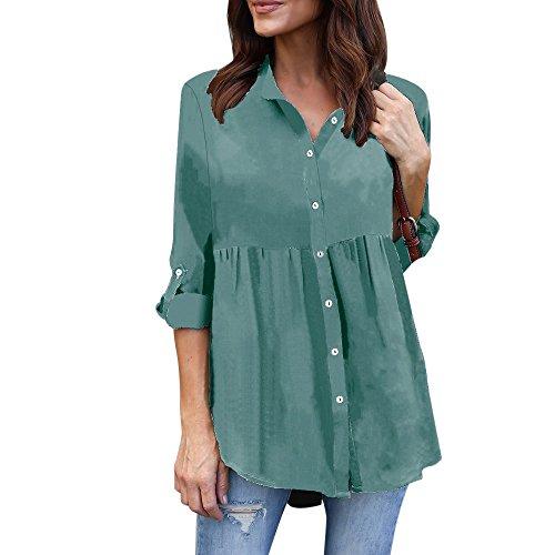 Big Promotion!Women T-Shirts Realdo Plus Size Solid Long Sleeve Casual Chiffon Ladies OL Work Top T Shirt(US 18, Light Blue)