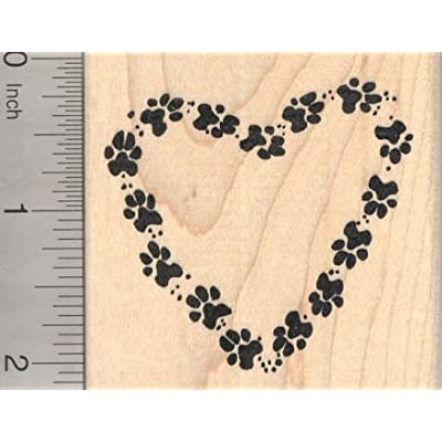 Paw Print Heart Rubber Stamp, Dog, Cat, Pet pawprints: Arts, Crafts & Sewing