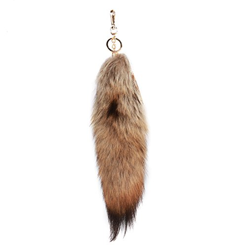 URSFUR Red Wolf Tail Septwolves Tail Fur Keychain Bag Charm Pendant