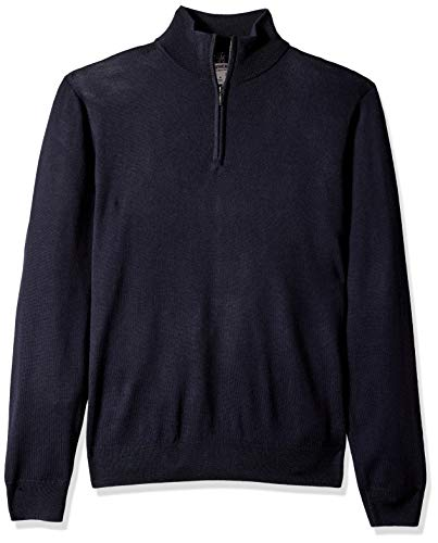 Goodthreads Men's Merino Wool Quarter Zip Sweater, Navy, Lar