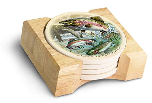 (American Expedition Rainbow Trout Collage Stone Coaster Set, Multicolor)