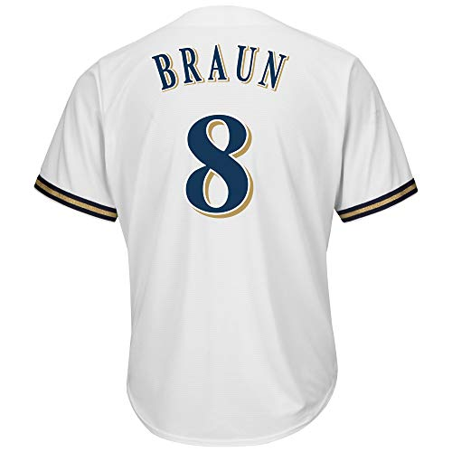 CookinL Men's/Women's/Youth_Ryan_Braun_White_Player_Replica_Jersey (Ryan Replica Jersey)