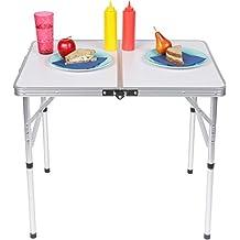 Trademark Innovations TBLE-FOLDING-SM Lightweight Small Adjustable Portable Folding Aluminum Camp Table