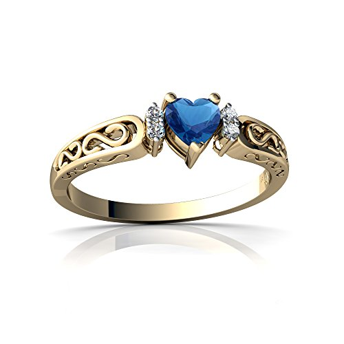 14kt Yellow Gold London Topaz and Diamond 4mm Heart filligree Scroll Ring - Size 8