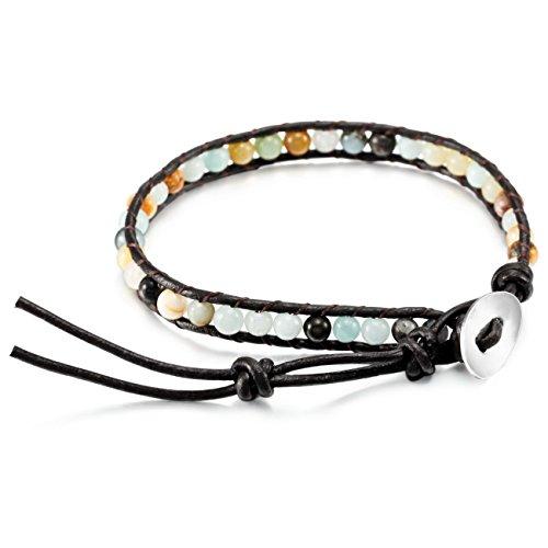 Stone Rope (MOWOM Multicolor Alloy Genuine Leather Bracelet Bangle Cuff Rope Simulated Amazonite Stone Bead Wrap Adjustable)