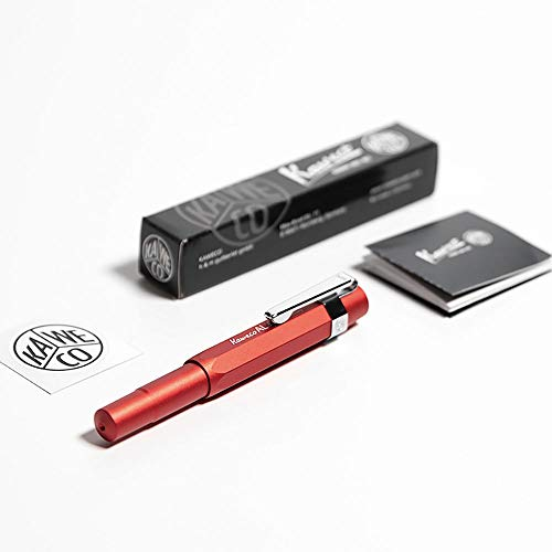 Kaweco AL Sport Fountain Pen Deep Red, Fine Nib with Kaweco Sport Octagonal Clip Chrome