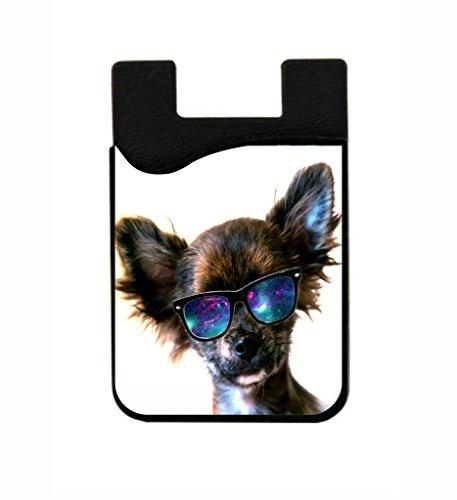 Chihuahua in Galaxy Glasses - Lea Elliot TM Black Silicon Card Phone - Snapchat Sunglasses