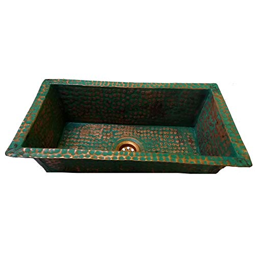 Green Patina Undermount Hammered Copper Kitchen Bar Prep Rectangle Sink