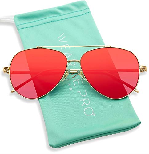 WearMe Pro - Flat Lens Mirrored Metal Frame Aviator Sunglasses (Flashing Red, 60) (Red Mirrored Aviators)