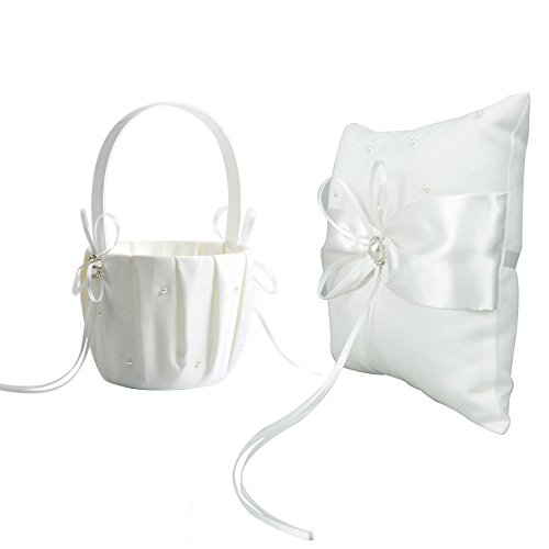 Wedding Flower Girl Basket Rhinestone Ivory Satin Decor With Ring Pillow Set (EL4118-I)