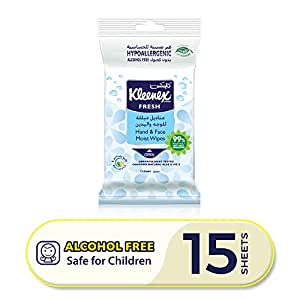 Kleenex Fresh Hand and Face Wipes - Single Pack, 15 Hand and Face Moist Wipes