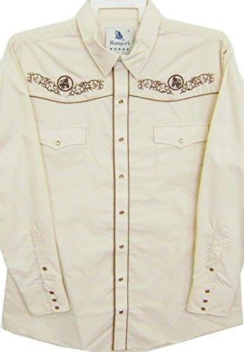 Modestone Men's Embroidered Long Sleeve Western Hemd Men's Filigree Horse Beige