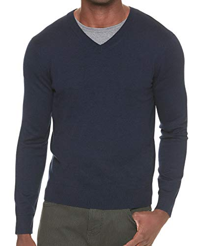 Mens V-neck Silk Sweater - Banana Republic Men's Premium V-Neck Sweater (Navy, M)