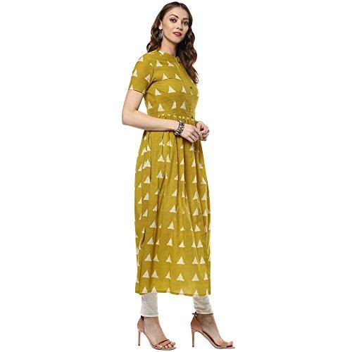 Indian Virasat Women's Printed Long Front Slit Kurta Small Mustard Tunic Kurti by Indian Virasat (Image #3)