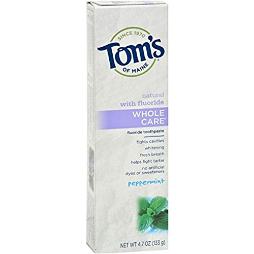 Tom's of Maine Whole Care with Fluoride Natural Toothpaste, Peppermint 4.7 oz (Pack of 3)