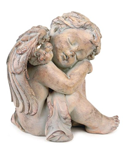 CC Home Furnishings Pack of 2 Antique Brown Finish Sleeping Cherub Angel Garden Patio Figures 8""