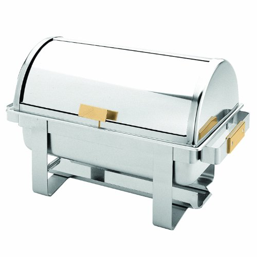 8 Quart Stainless Steel Roll Top Chafer Set Mirror Finished w/Gold Accent Handles - Full - Gold Top Roll Chafer Accented