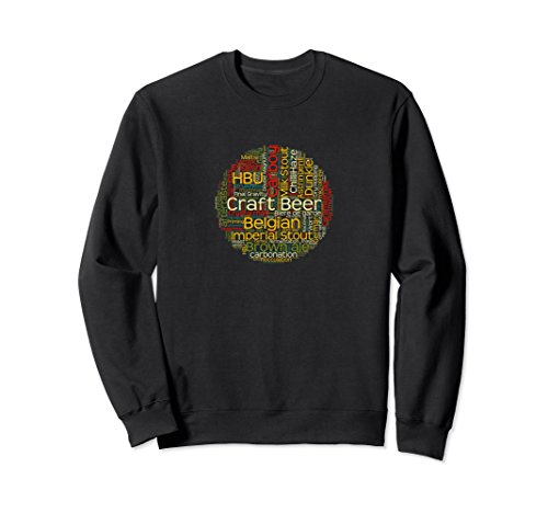 Unisex Craft Beer Sweatsthirt with Beer Terms for Microbrew Lovers XL: Black