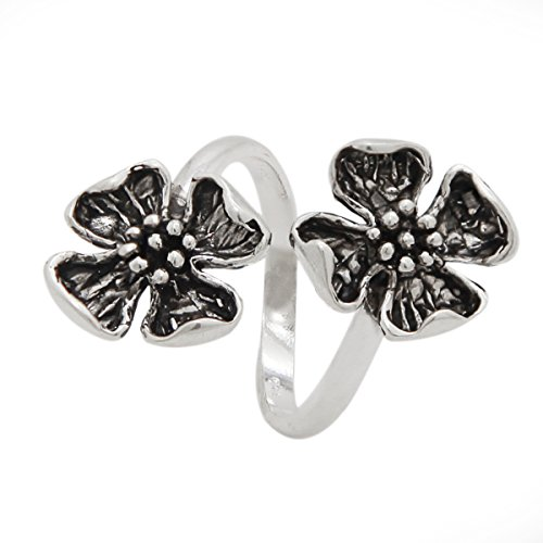 (925 Sterling Silver Double Dogwood Flower Ring - Open Band (8))