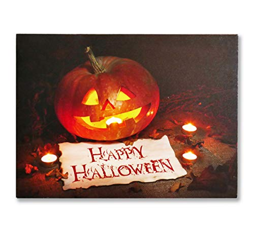 LED Lighted Happy Halloween Wall Art Print