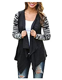 AuntTaylor Womens Solid High Low Long Sleeve Boho Open Front Blouses Cardigans