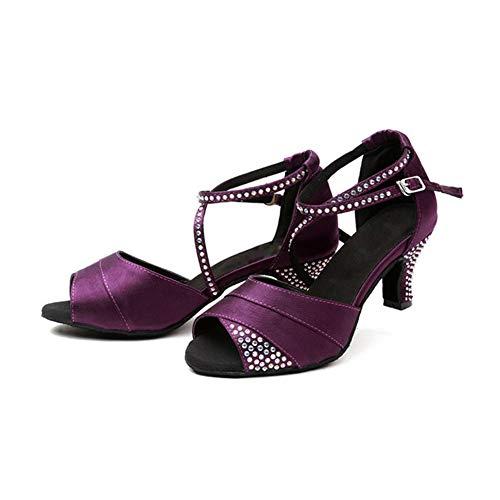 Mujer Baile De Tacon Antideslizante Modernos Fondo Plaza La Alto Rhinestone Brillando Amistad Zapatos 5cm Latino Whl Purple7 ll Satén Blando Xqxfpww5S