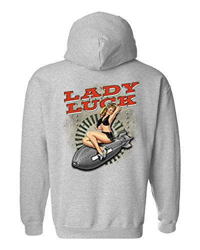 Men's/Unisex Pullover Hoodie Sxy Vintage Lady Luck On Navy Bomb GREY (XL) -