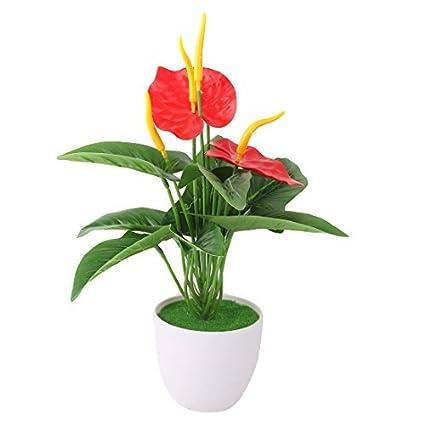 eDealMax Oficina de plástico cubierta de la maceta Flor de la planta Artificial del arte Adorno