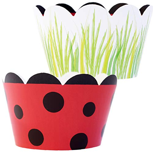 Ladybug Cupcake - Ladybug Cupcake Wrappers - 36 Reversible Wraps | Ladybug Party Supplies for Baby Shower or Birthday, Red and Black Polka Dots - Grass Cupcake Liner Covers