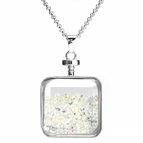 Crystal Ab Bead (BEADNOVA Square Glass Wishing Bottle Pendant Healing Crystal AB Chip Beads Sweater Chain Pendant Necklace 24