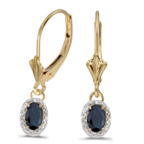 14k Yellow Gold Oval Sapphire And Diamond Leverback -