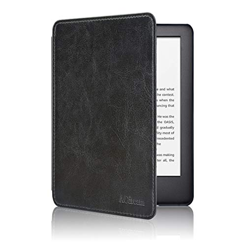 ACdream Slimshell Case for All New Kindle 10th Generation 2019 Released (NOT Fit Kindle Paperwhite or Kindle 8th Gen),Premium PU Leather Cover Case with Auto Wake Sleep Feather, Black