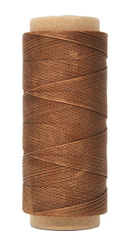 Mandala Crafts 0.45mm Leather Sewing Hand Stitching Jewelry Craft Round Waxed Thread String Cord (0.45mm, Brown)