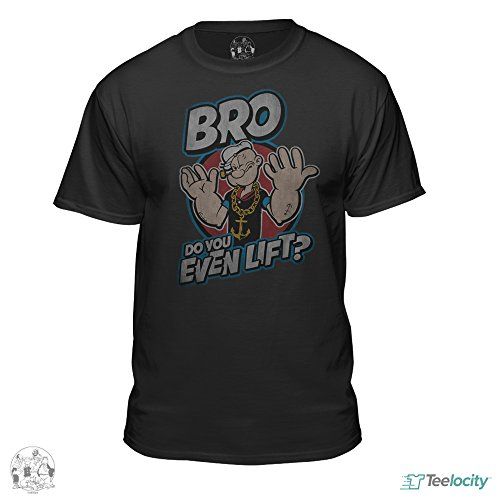 Popeye The Sailor Man Official Bro Do You Even Lift T-Shirt (Medium) Black