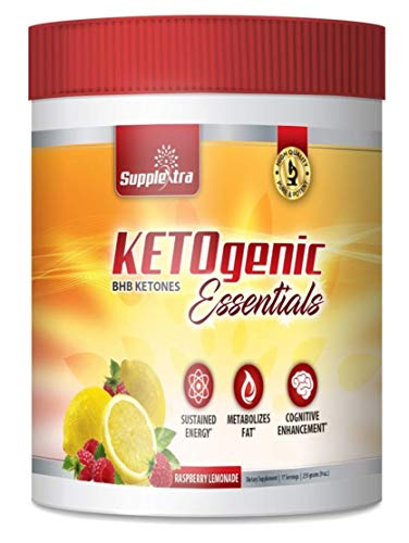 Ketogenic Essentials Keto Powder Drink Mix - BHB Ketones - Zero Sugar, Zero Carbs, Zero Caffeine - Inch and Weight Loss - Raspberry Lemonade (Carb Mix Power Drink)