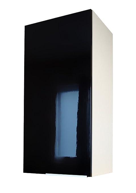 Berlenus CP4HN - Mueble Alto de Cocina (1 Puerta, 30 cm), Color Negro Brillante
