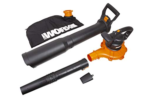 "WORX WG518 12 Amp 2-Speed Leaf Blower, Mulcher & Vacuum, 10"" x 11"" x 40"", Orange and Black"