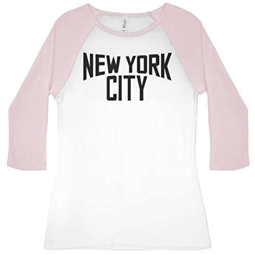 (New York City Pride: Slim Fit Bella 3/4 Sleeve Raglan T-Shirt White/Pink)