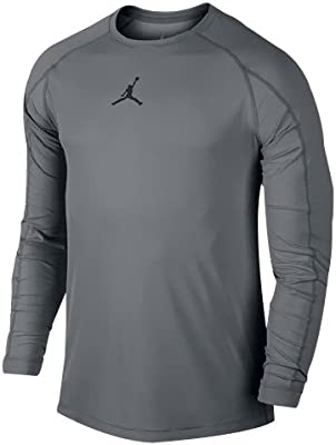 fe99ad1f80ffa1 Amazon.com   Nike Air Jordan All Season Men s Fitted Long Sleeve Shirt Dark  Grey Size 3XL   Sports   Outdoors