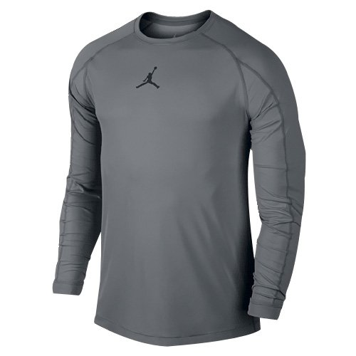 Nike Mens Jordan All Season Fitted Long Sleeve Training Shirt Cool Grey/Black 642406-065 Size X-Large