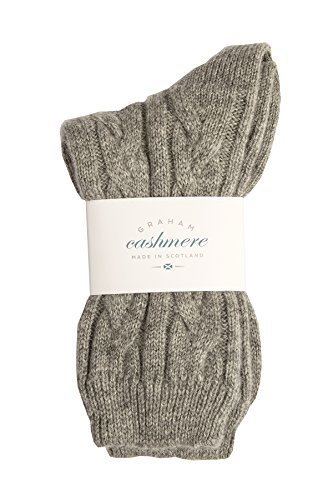 Graham Cashmere Women's Pure Cashmere Cable Bed Socks One Size Grey