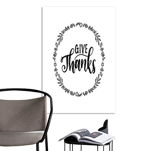UHOO Linen Art Prints PicturesGive Thanks Vector Lettering in Round Foliage Frame Illustration for Thanksgiving Invitation or Greeting Card Template.jpg Wall Art for Bedroom Living Room 16