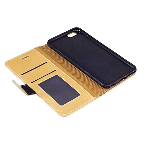 Telefoni Cellulari Custodia, Case per iPhone 6/6S, Crazy Horse Texture PU Pelle Orizzontale Flip Custodia in pelle con supporto & Card Slots & Wallet & Photo Frame & Lanyard (Color: ORO)